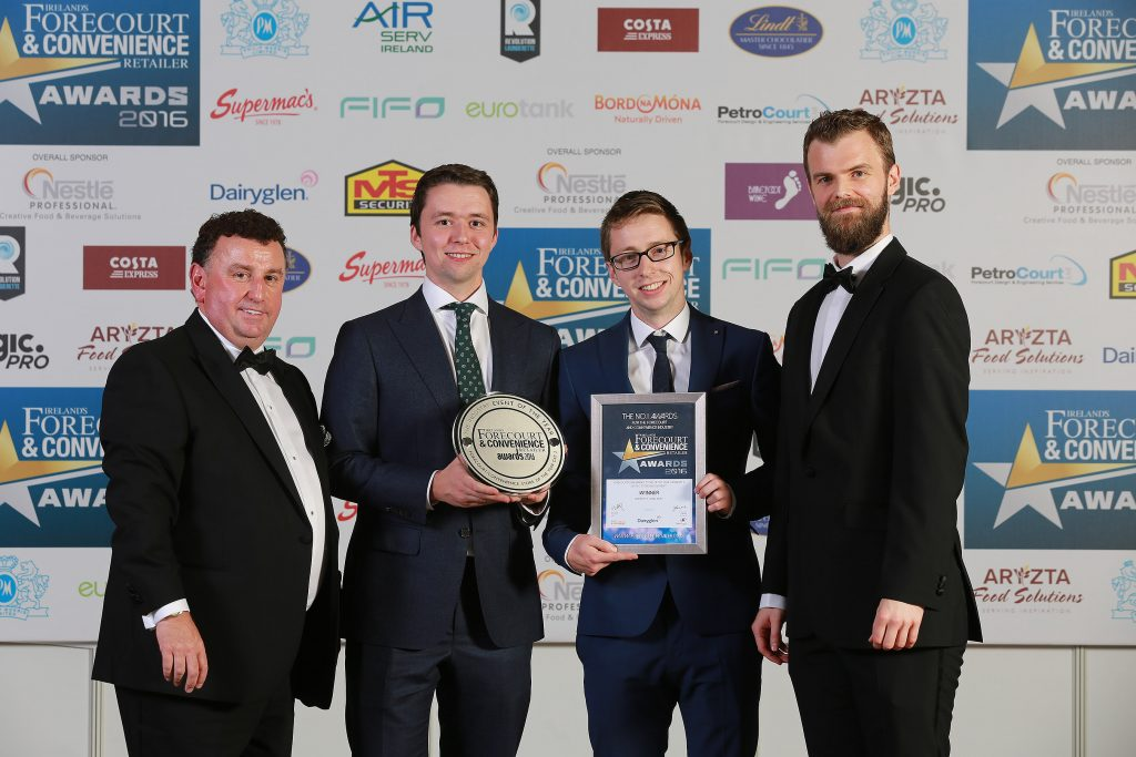 Ireland's Forecourt & Convenience Retailer Awards organiser Bill Penton with Kevin and Shane Doherty from Doherty's Topaz Muff, and Greg Maher marketing manager for category sponsor Dairyglen.