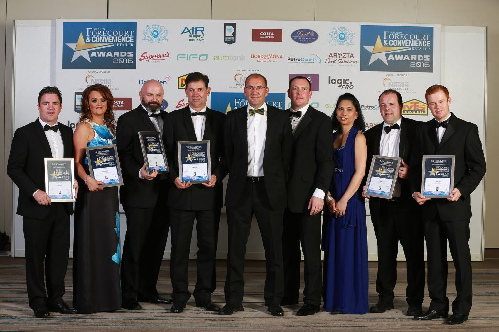 Pictured with their finalists' certificates are Paul Kennedy, Galway Plaza; Raylene McCaughey of McCaughey's, Broomfield, Castleblayney; Gavin Moran and John Hurley, Junction 14, Mayfield; Patrick Brennan, category sponsor, Revolution Laundrette; Brian Joyce and Glyness Vuston, Galway Plaza; Paddy O'Hanlon, Fitzpatrick Spar Express, Co. Kildare and Eddie Tobin, Tobin's, Letterkenny