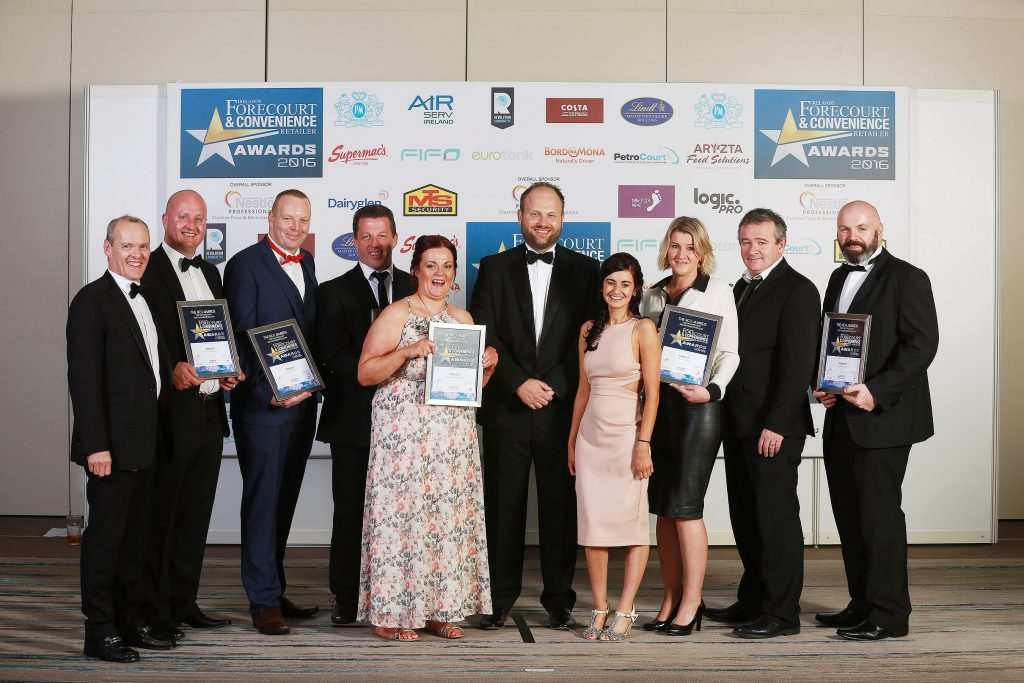 The finalists in this category are pictured. They are Phelim O'Neill, Mayobridge Service Station; Kevin Doyle, M3 Mulhuddart Services; David Connolly, Topaz Restore, Westview; Michael O'Sullivan, Amber Oil, M8, Fermoy; Lilly Devlin, Mayobridge Service Station; category sponsor, Mark Hargadon, Aryzta; Naomh Grant, Mayobridge Service Sation; Angelika Potulska and Frank Fortune, Corrib, Topaz Spar, Swinford and Gavin Moran, Junction 14 Mayfield
