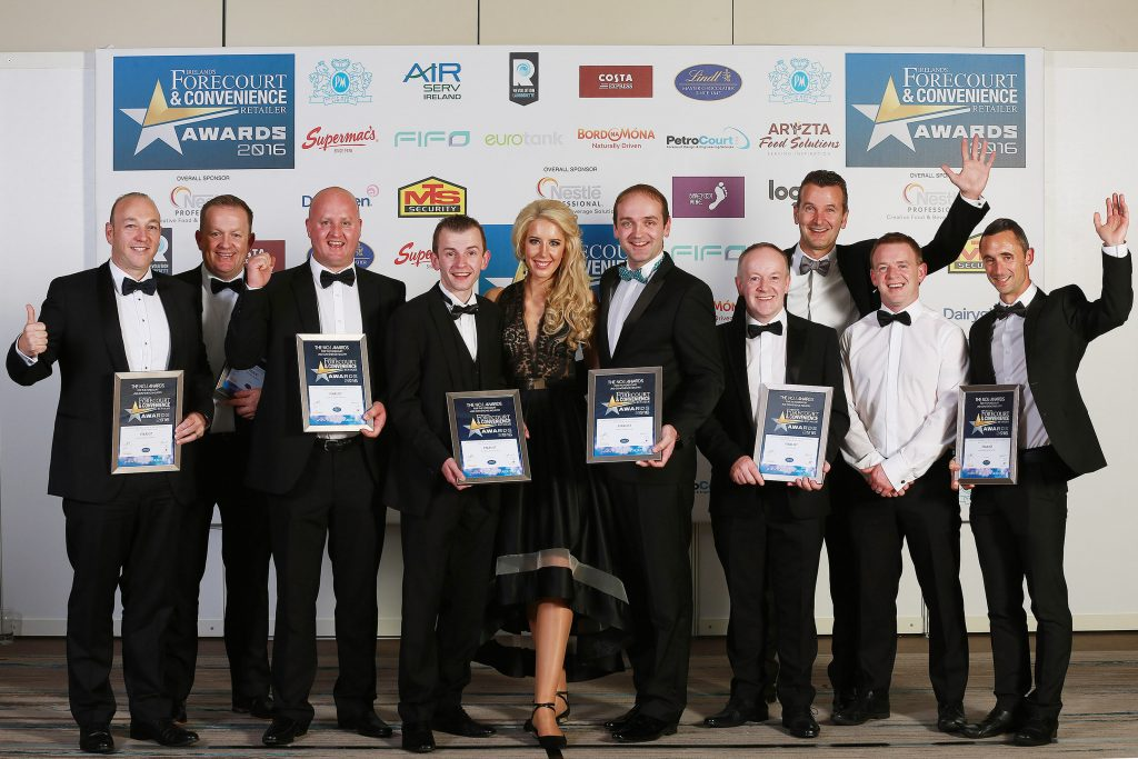 The finalists, pictured here with their certificates, are Shane Cantillon, Maxol/Mace, Clonakilty; Ian Rothery, Applegreen M1, Lisburn; Keith Doyle, M3 Mulhuddart Services; Paudie Byrne, Tipperary Town Plaza; Ernesta Sukyte, Applegreen; Henry Healy, Barack Obama Plaza; Ray and Brendan Lee, Lee's Centra, Charleville; Walter Angst (back), category sponsor, Lindt and Karl Fitzgerald, Applegreen Montgorry