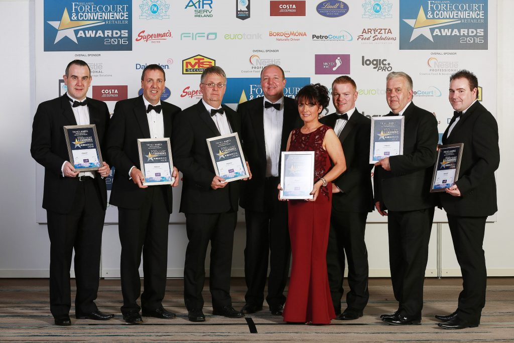 Pictured with their finalists' certificates are Damien McCormick, Dry Arch Complex Mace, Co. Donegal; Liam Glynn, Glynn's Centra, Carnmore, Co. Donegal; Eddie McKee, Milestone, Rathfriland, Co. Down; category sponsor, Philip Lynch, Barefoot Wines; Nigel O'Hare (back) and Jacqueline Sands, Mayobridge Service Station, Co. Down; Francis O'Leary, Spar/Maxol, Fairyhouse, Ratoath and Shane Maguire, Lilley's Centra, Co. Fermanagh