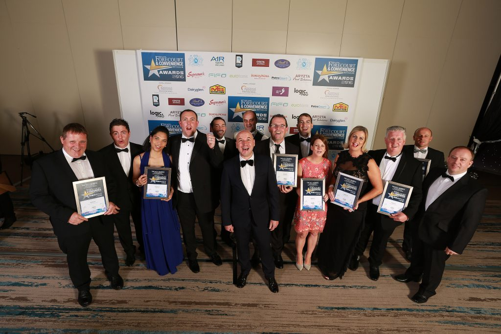 The finalists in this category are pictured with their certificates. They are Shane Gleeson, Inver/Spar, Punches Cross, Limerick; Paul Kennedy, Gyness Vuston and Brian Joyce, Galway Plaza; Michael Bonner (back), Glenties Services; category sponsor, Dessie Aughey, AirServ; Barry Patton (back), Applegreen Tuam Road; Kevin O'Donnell, Glenties Services; Mark and Ciara Gillan, Hoban's Centra; Caroline Colbert, Applegreen Tuam Road; Paul Murphy, Applegreen Paulstown; Connor McGettigan, McGettigan's Applegreen, Lifford and John Kiely, Inver/Spar, Punches Cross, Limerick
