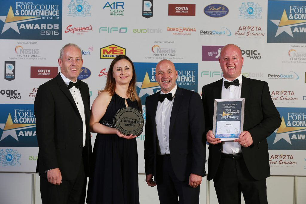 Accepting the Newcomer of the Year Award for the M3 Mulhuddart site is owner Donal Fitzpatrick with Kristina Orliuk, Dessie Aughey from category sponsor Air-Serv, and store manager Keith Doyle