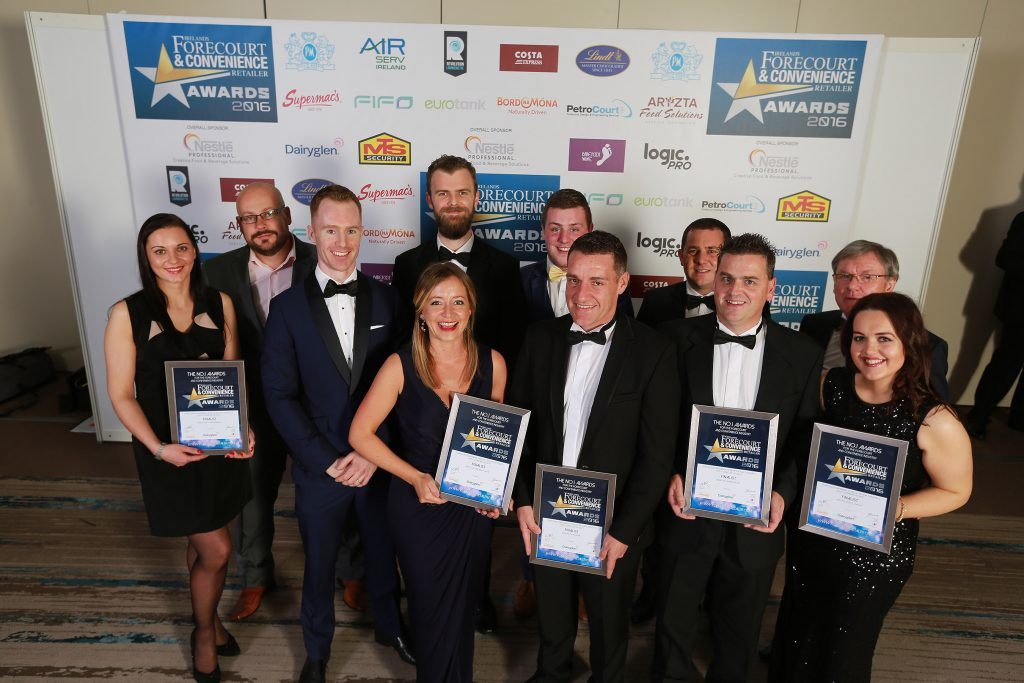 Pictured with their finalists' certificates are Laura Malenkiene and Valdis Kirelis, Maxol Mace, Kingsmeadow; Killian Bane and Suzanne Waddell, GreatGas Junction 4, Turvey; category sponsor, Greg Maher, Diaryglen; Karl Malone (back), Watters Service Station, Castleblayney; Danny McHugh (back), McHugh's Spar/Texaco, Ballindine; Martin Burke, Amber Oil, Limerick Road, Tipperary; Padraig Watters (back) and Michelle Keenan, Watters Service Station, Castleblayney.