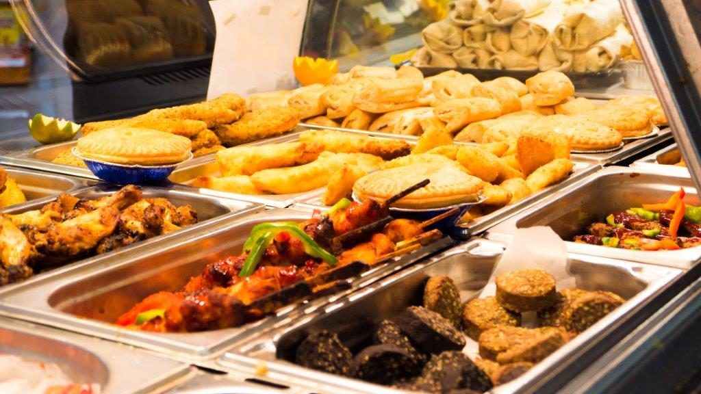 The hot food counter