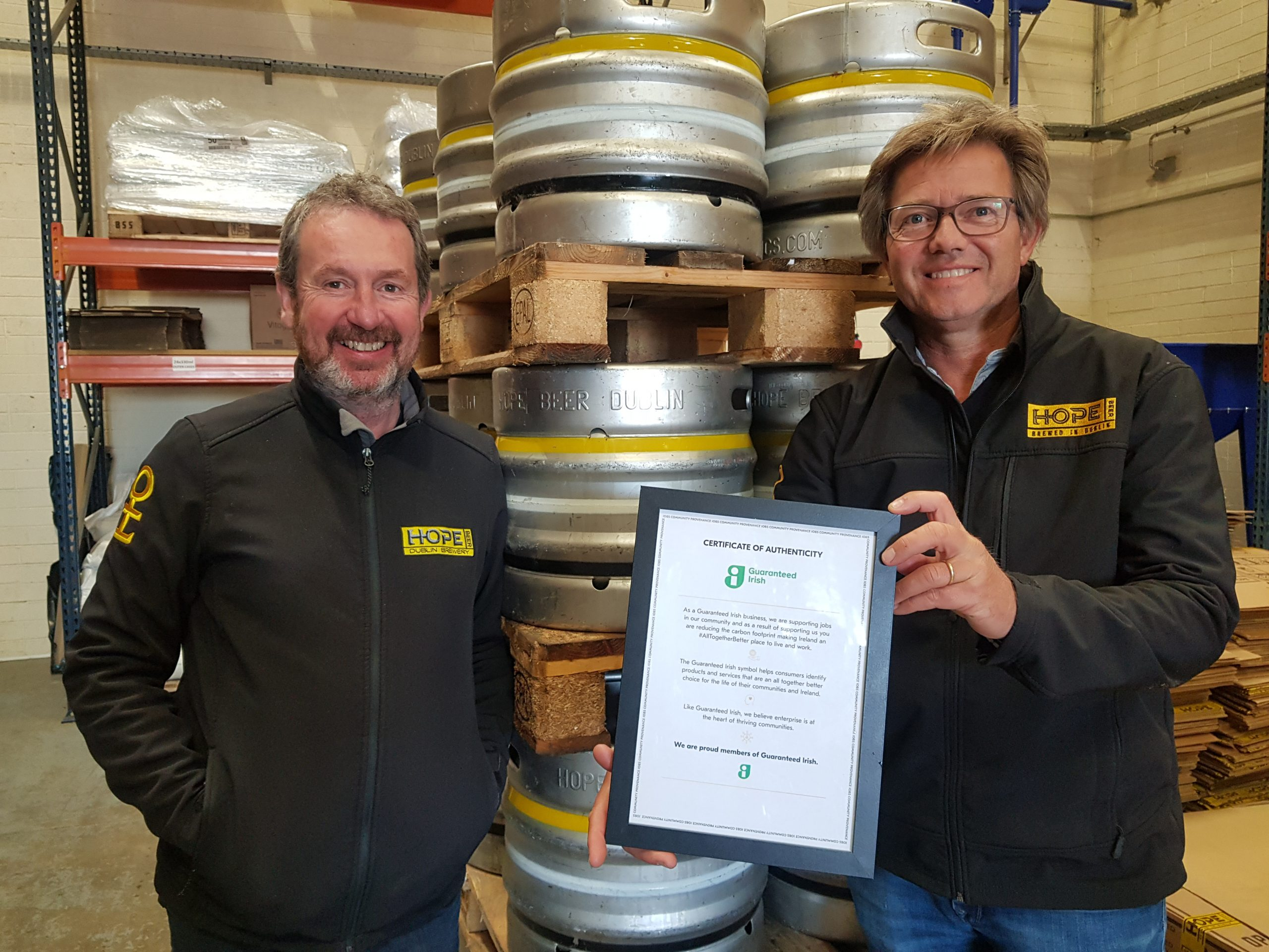 Hope Beer receives Guaranteed Irish Symbol